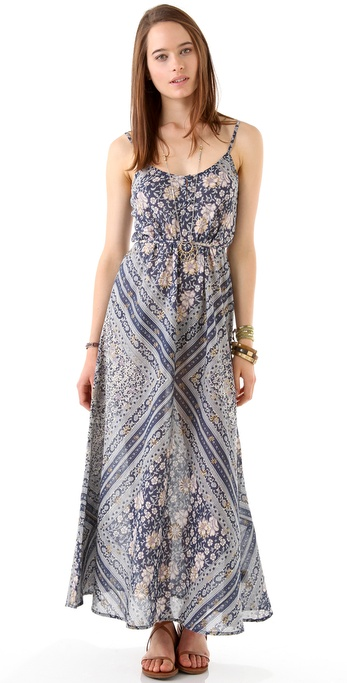 Beyond Vintage Block Print Maxi Dress