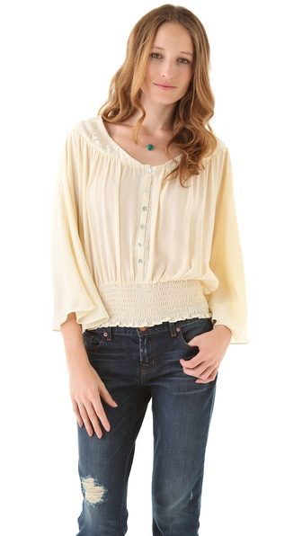 Beyond Vintage Batwing Blouse with Lace