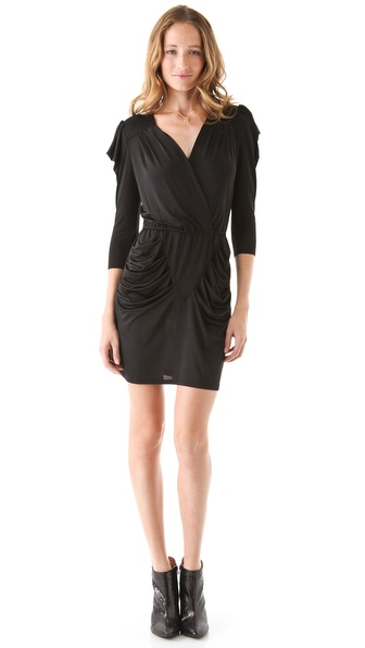 Beyond Vintage Draped Dress with Gathered Shoulders