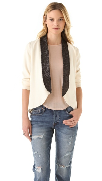 Beyond Vintage High Low Blazer with Sequins