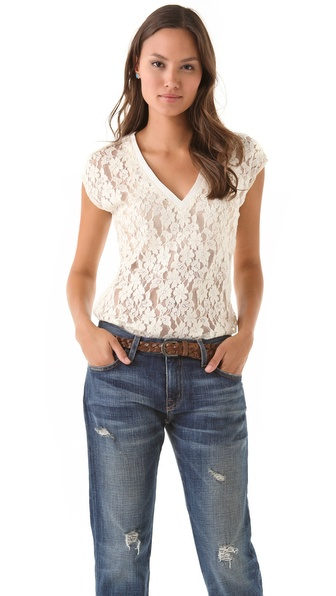 Beyond Vintage V Neck Lace Top