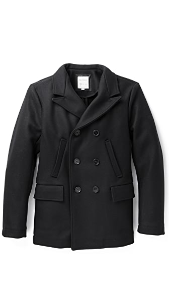 Billy Reid Wool Peak Lapel Pea Coat