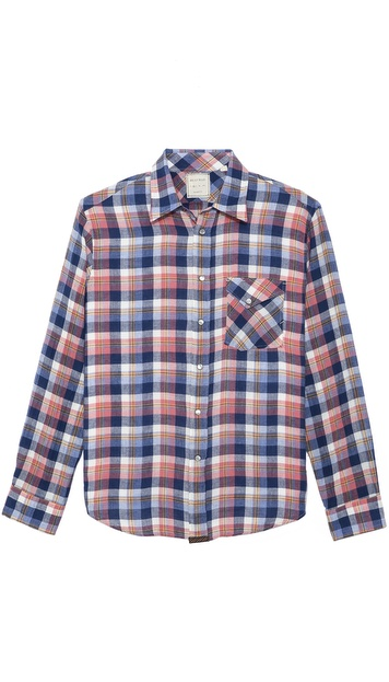Billy Reid Gilbert Plaid Woven Shirt