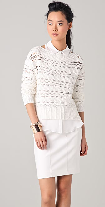 Bird by Juicy Couture Textured Cable Pullover Sweater