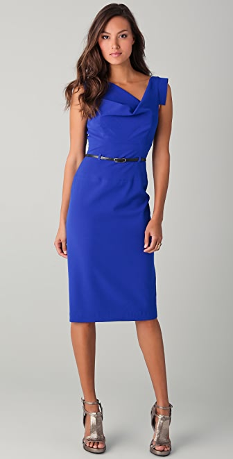 Black Halo Jackie O Belted Midi Dress