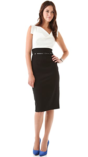 Black Halo Jackie O Two Tone Dress