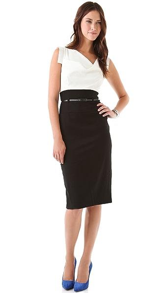 Black Halo Jackie O Two Tone Dress