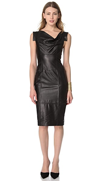 Black Halo Leather Jackie O Dress