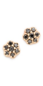 Blanca Blanca Black Diamond Rosette Stud Earrings (Multicolor)