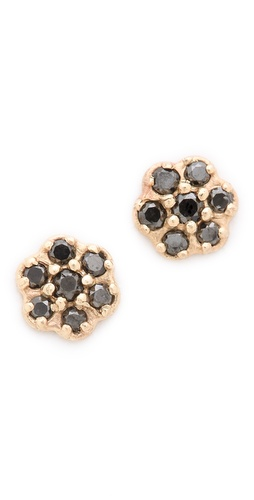 blanca monros gomez Black Diamond Rosette Stud Earrings