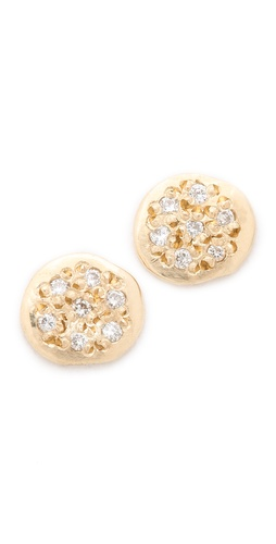 blanca monros gomez Diamond Flat Seed Stud Earrings