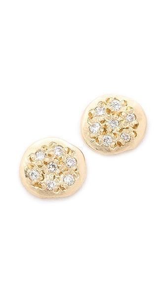 blanca monros gomez Diamond Flat Seed Stud Earrings