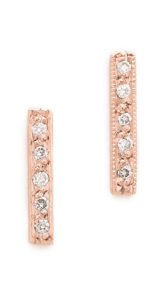 blanca monros gomez Dainty Diamond Bar Stud Earrings