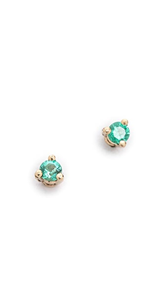 Blanca Blanca Tiny Emerald Stud Earrings (Green)