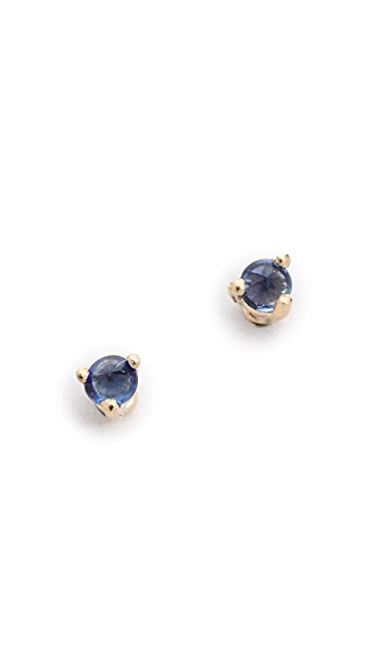 Blanca Blanca Tiny Sapphire Stud Earrings (Blue)