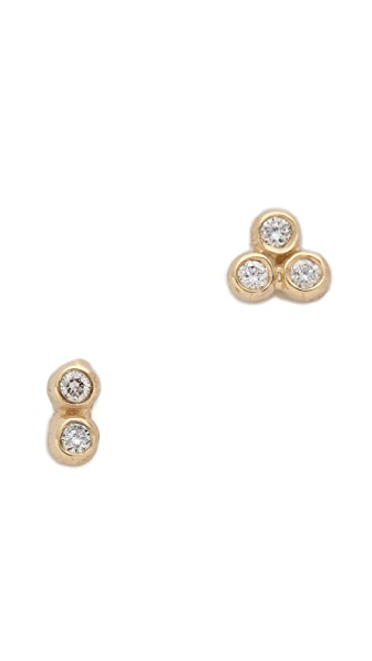 Blanca Blanca Asymmetrical Seed Stud Earrings (Multicolor)