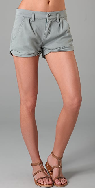 Blank Denim Twist Cuff Twill Shorts