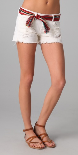 Blank Denim Semi Fit Shorts with Raw Hem
