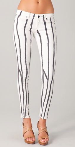 Blank Denim Paint Stripe Ankle Skinny Pants