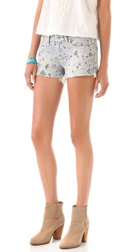 Blank Denim Foil Print Cut Off Shorts