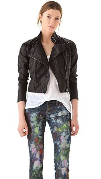 Blank Denim Vegan Leather Moto Jacket