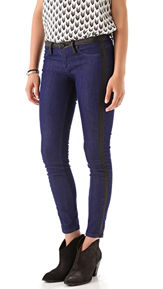 Blank Denim Skinny Jeans with Black Trim