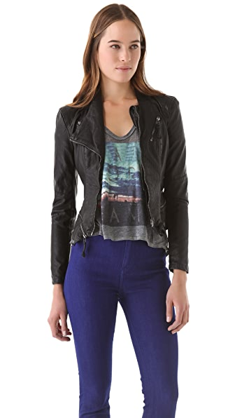 Blank Denim Fitted Vegan Leather Jacket
