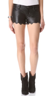 Blank Denim Laser Hem Faux Leather Shorts
