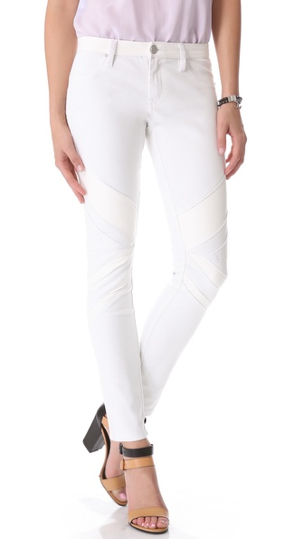 Blank Denim Combo Skinny Jeans with Vegan Leather