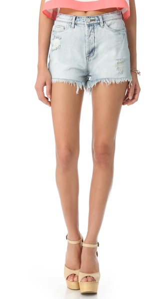 Blank Denim Distressed High Rise Cutoff Shorts