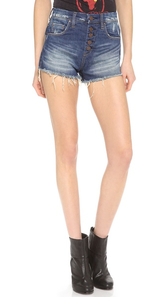 Blank Denim Button Up Cutoff Shorts