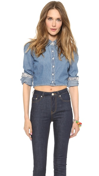 Blank Denim Cropped Denim Button Down - Pussy Foot at Shopbop / East Dane