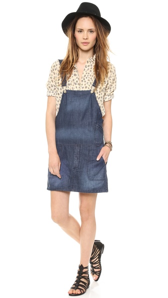 Blank Denim Overall Dress - Blue Waffle