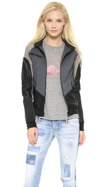 Blank Denim Colorblock Bomber Jacket