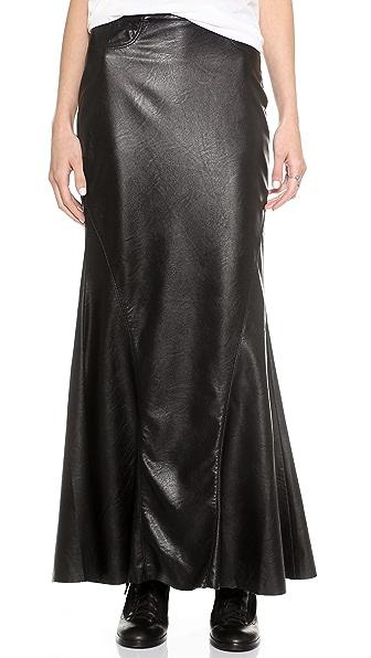 Blank Denim Vegan Leather Mermaid Maxi Skirt