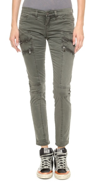 Blank Denim Skinny Cargo Pants with Zipper Detail