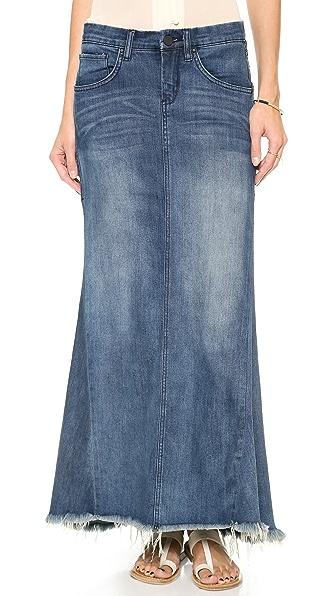Blank Denim Denim Skirt with Selvedge Hem
