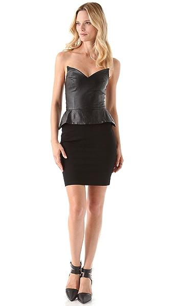 Blaque Label Strapless Peplum Dress with Leather Bodice
