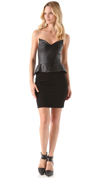 Blaque Label Strapless Peplum Dress with Leather Bodice