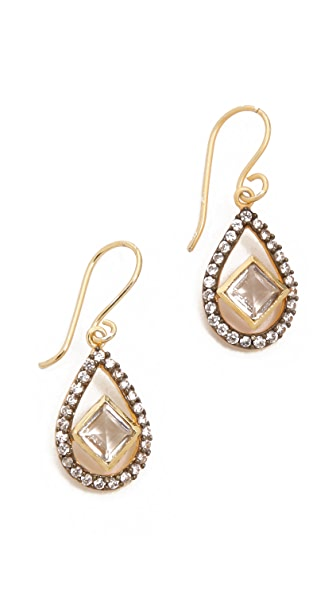 Blossom Box Pave Teardrop Quartz Earrings
