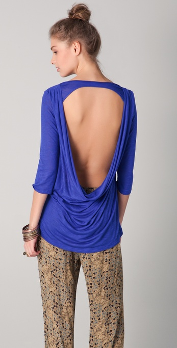 Blue Life Cowl Back Top