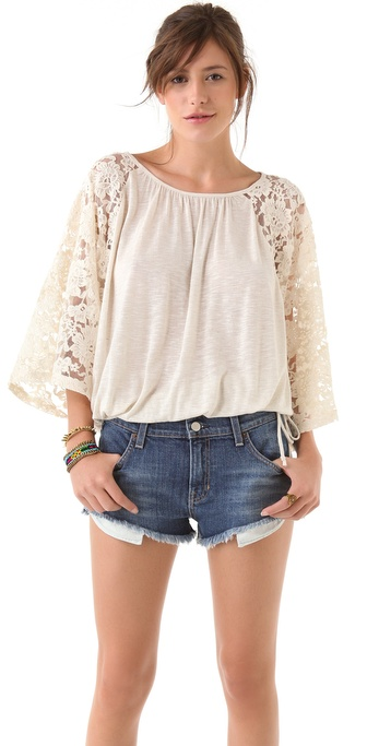 Blue Life Angel Lace Sleeve Top