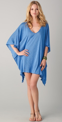 Blue Life V Neck Cape Cool Dress
