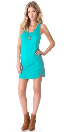 Blue Life Tank Dress with Curved Hem