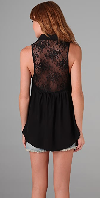 Blu Moon Button Down Top with Lace Back
