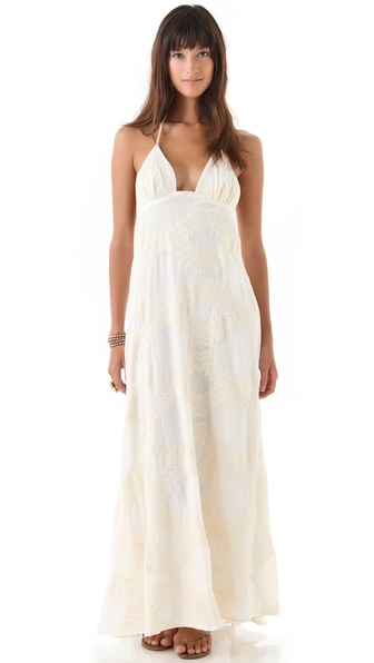 Blu Moon Long Embroidered Halter Dress