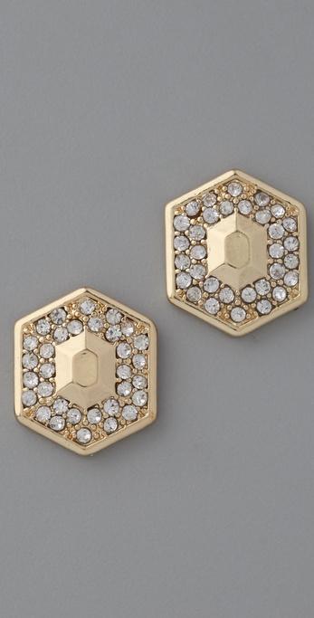 Belle Noel Honey Hexagon Stud Earrings