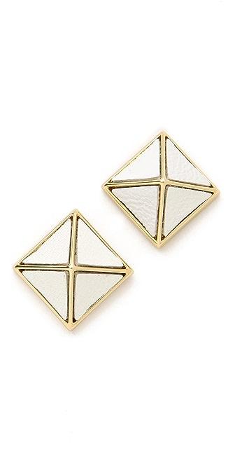 Belle Noel Leather Pyramid Stud Earrings