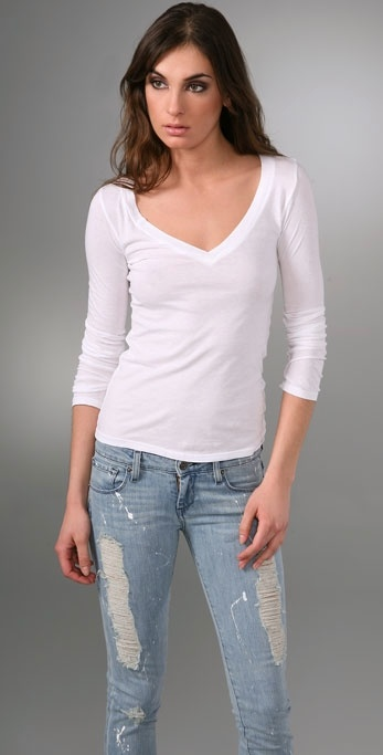 Bop Basics Long Sleeve V Neck Tee