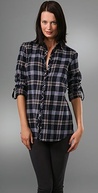 Bop Basics Plaid Back Button Boyfriend Shirt